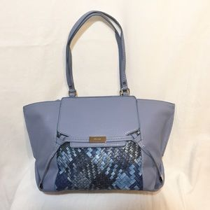 Nine West Blue Gleam Team Large Basket Weave Purse